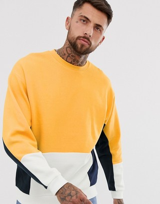 Asos Design DESIGN oversized sweatshirt with colour blocking-Yellow