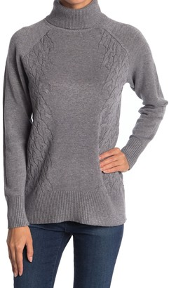 Cyrus Cable Knit Trim Turtleneck Sweater