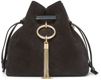 Jimmy Choo CALLIE DRAWSTRING/S Black Suede Bucket Bag with Chain Strap