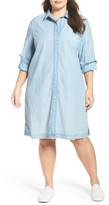Plus Size Women's Caslon Chambray Shirtdress