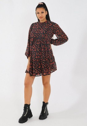Missguided Black Floral Keyhole Back Maternity Smock Dress