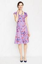 Lands' End Women's Petite Short Sleeve Square Neck Dress