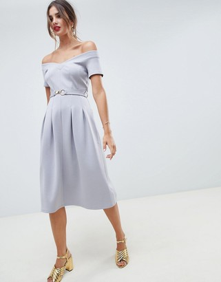 ASOS DESIGN sweetheart neck bardot midi dress with belt