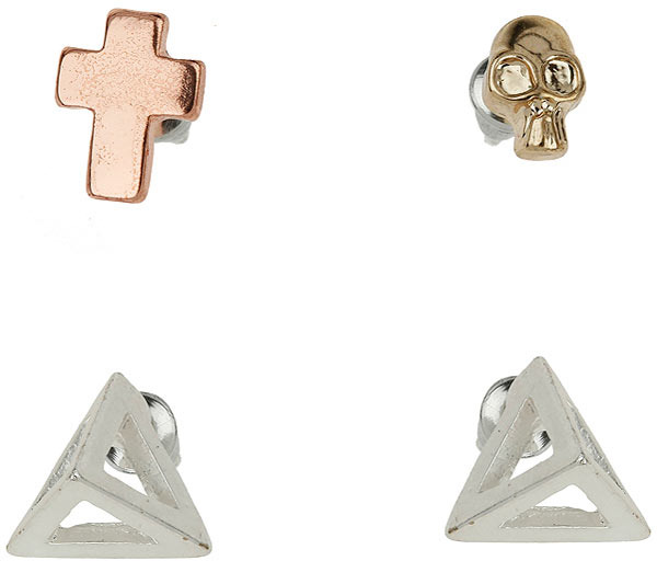 Topman Prism Skull Earrings