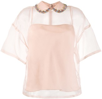 RED Valentino Embellished Collar Silk Top