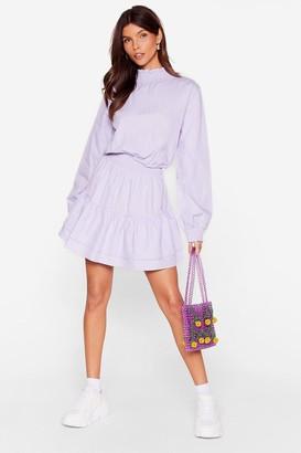 Nasty Gal Womens Frill I Found You High Neck Mini Dress - Purple - 4, Purple
