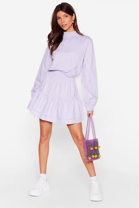 Nasty Gal Womens Frill I Found You High Neck Mini Dress - Purple - 4