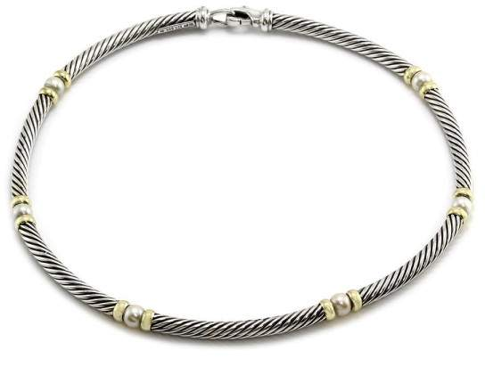 David Yurman 925 Sterling Silver and 14K Yellow Gold Pearl Hampton Necklace