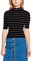 Yumi Women's Stripe Stretch Short Sleeve Jumper,