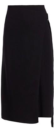 Helmut Lang Compact Merino Wool-Blend Midi Wrap Skirt