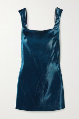 Area Open-back Crystal-embellished Lame Mini Dress - Navy