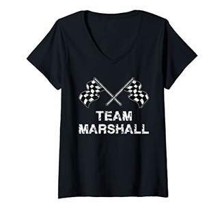 Womens Vintage Team Marshall Family Name Checke Flag Racing V-Neck T-Shirt