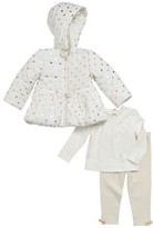 Little Me Infant Girl's Gold Dot Quilted Hooded Jacket, Tee & Leggings