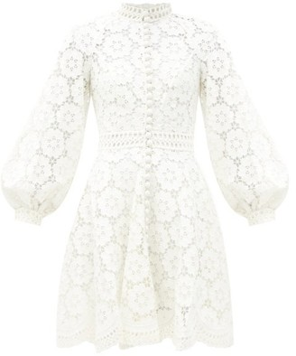 Zimmermann Bells Linen-blend Guipure-lace Mini Dress - Ivory
