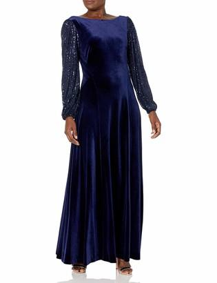 Tahari ASL Women's Puff Long Sleeve Bateau Neck Velvet Gown