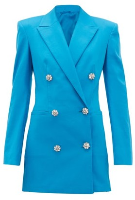 ATTICO The Crystal-button Cotton-blend Blazer Dress - Womens - Blue