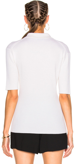 Protagonist Short Sleeve Knit Polo Top in Neutrals,White.