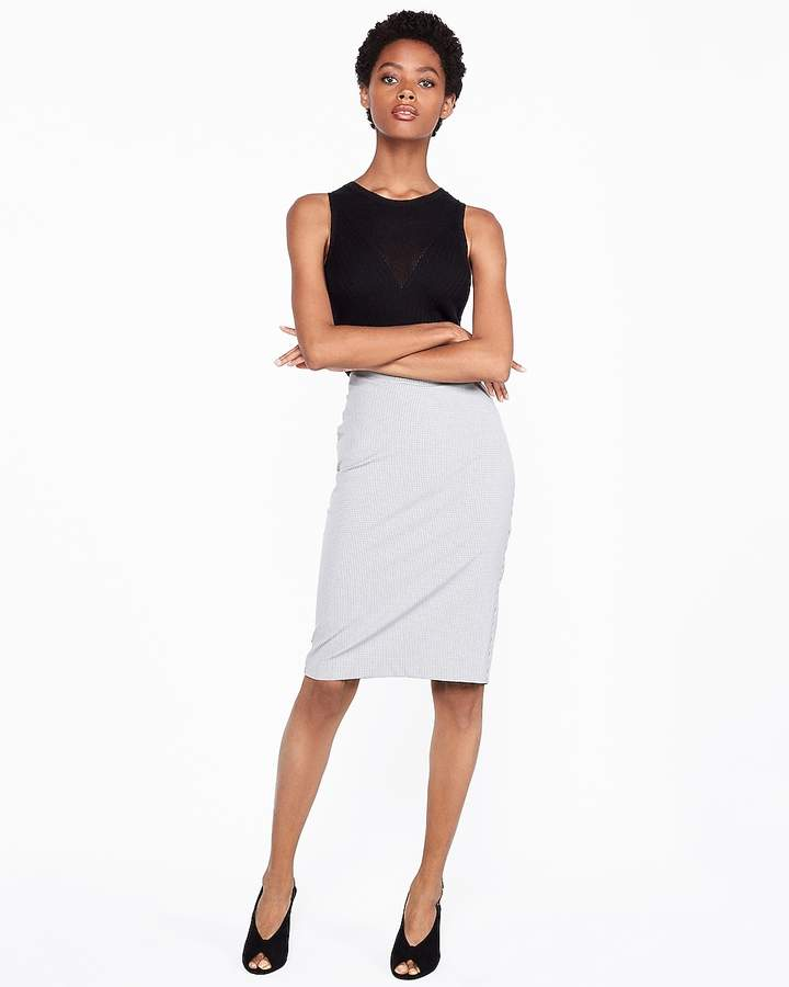 13941071a High Waist Gray Pencil Skirt - ShopStyle
