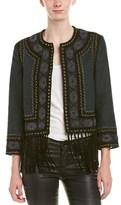 Haute Hippie Embellished Leather-trim Fringe Jacket.