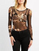 Charlotte Russe Floral Mesh Bodysuit