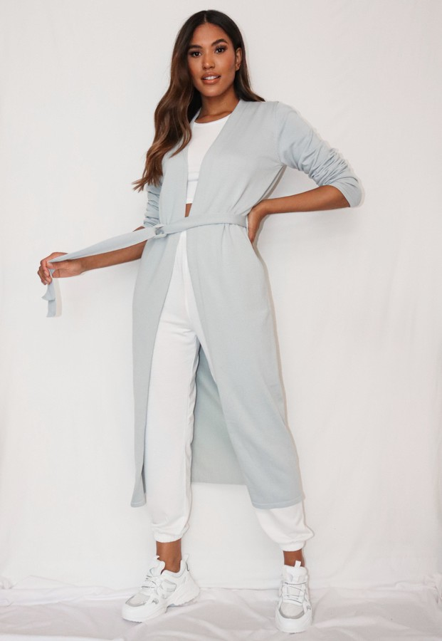 Missguided Recycled Grey Knitted Maxi Cardigan