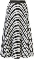 Sacai striped pleated A-line skirt