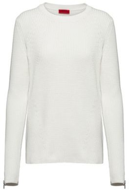 HUGO BOSS Ribbed Sweater In Organic Cotton With Zipped Cuffs - White