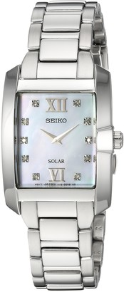 Seiko Women's Diamond Solar Japanese-Quartz Watch with Stainless-Steel Strap