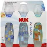 Gerber NUK TrendLine Orthodontic Bottles Silicone, Medium Flow For Boys Color May Vary 3 ea