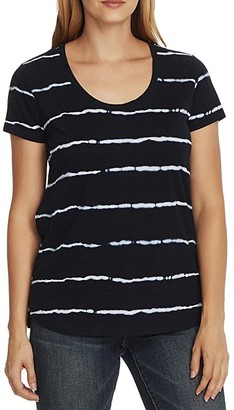 Vince Camuto Short Sleeve Linear Whispers Scoop Neck Tee (Night Navy) Women's Clothing