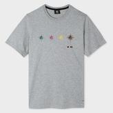Paul Smith Men's Grey Marl Organic-Cotton 'PS Targets' Print T-Shirt
