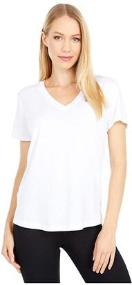 tasc Performance Easy V-Neck Tee (White) Women's Clothing