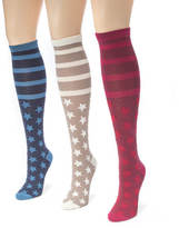 Muk Luks 3 Pair Jacquard Knee High Socks