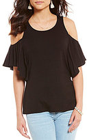 Moa Moa Ruffle Cold Shoulder Knit Top