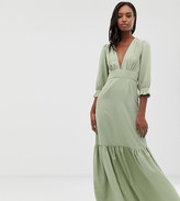 Asos Tall DESIGN Tall plunge tea maxi dress with pep hem