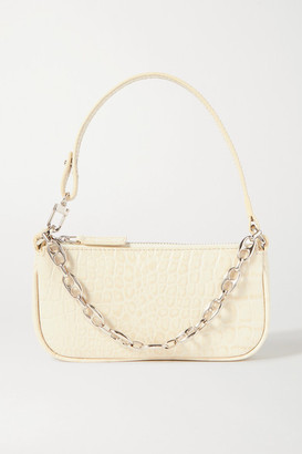 BY FAR Rachel Mini Chain-embellished Croc-effect Leather Shoulder Bag - Cream