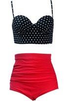 Qiaoer Womens Plus Size Vintage Push up Halter High Waisted Bikini Swimsuit Set (M, )