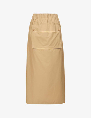 Max Mara Tabacco high-waisted cotton-twill maxi skirt