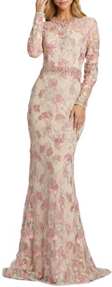 Mac Duggal Floral Embroidery Long Sleeve Trumpet Gown