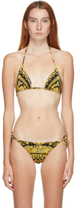 Versace Underwear Black Allover Print Bikini Top