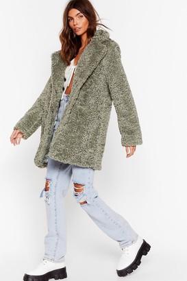 Nasty Gal Womens Wait Fur It Faux Fur Longline Coat - Green - L