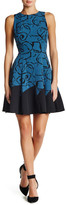 Anne Klein Printed Crepe Seamed Fit & Flare Dress