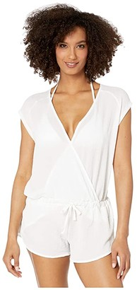 Speedo Romper Cover-Up (White) Women's Swimsuits One Piece