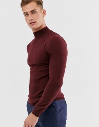 ASOS DESIGN muscle fit merino wool turtle neck jumper in burgundy