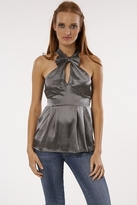 NU Collective Satin Bow Front Top In Metal