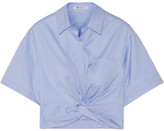 Alexander Wang Cropped Knotted Cotton-twill Shirt - Blue