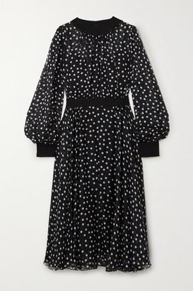 Dolce & Gabbana Polka-dot Silk-blend Chiffon Midi Dress - Black