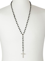 Topman Black Bead Rosary Necklace