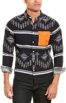 Scotch & Soda Ams Blauw Wool-Blend Regular Fit Woven Shirt