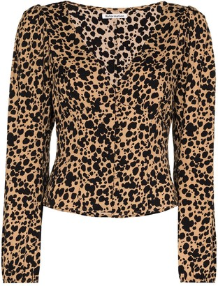 Reformation animal print V-neck blouse
